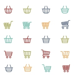 Colorful shopping thin line baskets vector