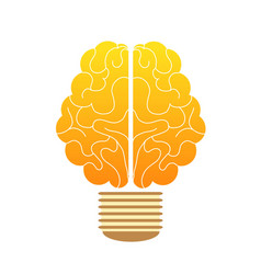 Creative concept human brain in the lamp vector