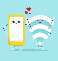 Cute cartoon phone and wifi technology concept vector