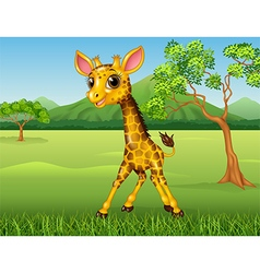 Cute giraffe in the jungle vector image vector image