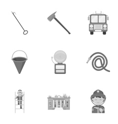 Fire department set icons in monochrome style big vector