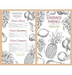 Fruit drinks juice menu of sketch fruits vector image