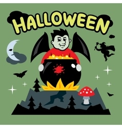 Halloween vampire and cauldron cartoon vector