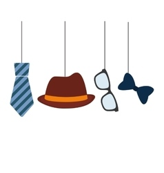 Hat tie glasses and bow hanging decorative card vector