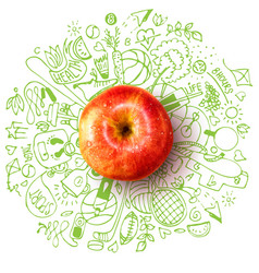 healthy lifestyle concept with apple and doodles vector image