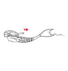 mermaid swim in the sea with fish vector image