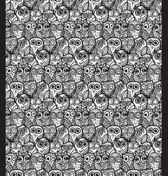 Owls hand drawn seamless pattern vector