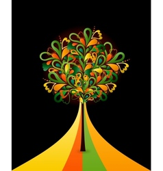 Painting abstract tree on black card vector image