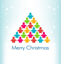People Christmas Tree Card vector image vector image