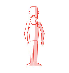 Red silhouette shading caricature faceless man vector