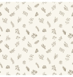 Seamless pattern of flowers herbs and leaves vector image