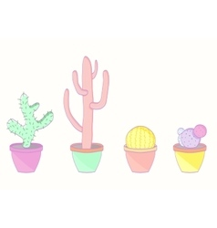 Set of colored cacti vector image