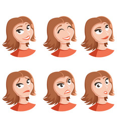 Set of woman face icons vector