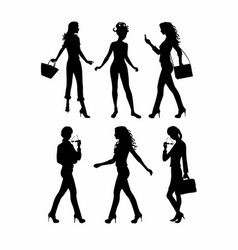shadows of six women standing vector image vector image