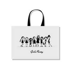shopping bag with girls sketch for your design vector image vector image