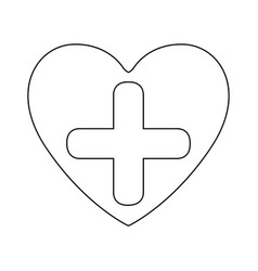 Silhouette heart health with cross form vector