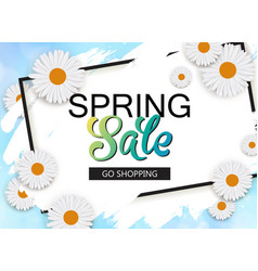 Spring sale banner with flowers and frame vector