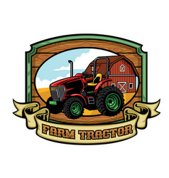 tractor and farming yard vector image vector image