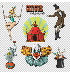 traveling chapiteau circus retro cartoon icons vector image vector image