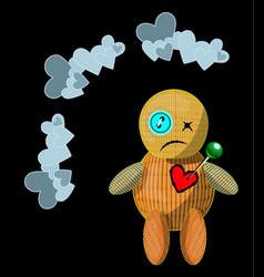 Unhappy cartoon style woodoo doll vector