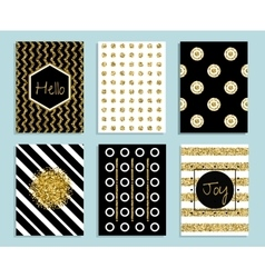 Gold white and black gift card template with vector image