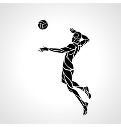 Volleyball attacker player silhouette vector image