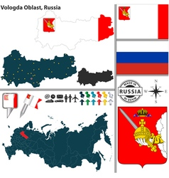 Map of Oblast of Vologda vector image