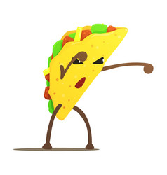 Mexican taco street fighter fast food bad guy vector
