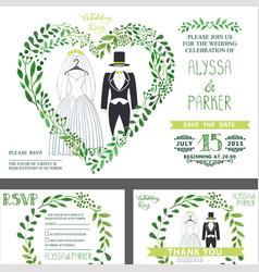 Wedding invitationgreen branches heart wedding vector