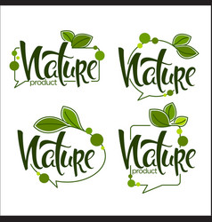 Nature handdrawn lettering and doodle organic vector