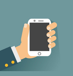 Hand holing white smartphone touching blank screen vector