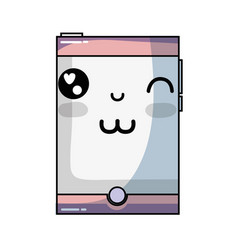 Kawaii cute funny smartphone technology vector