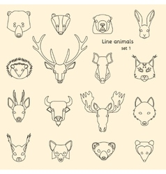 Forest animals line icons vector