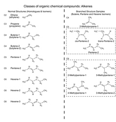Set of organic chemicals - hydrocarbons alkenes vector