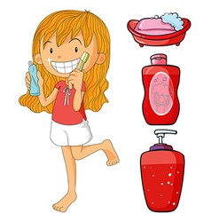 Girl in red brushing teeth vector image