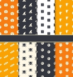 Group seamless patterns for happy halloween vector