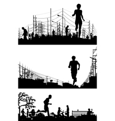 Jogging foregrounds vector