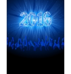2016 happy New Year disco blue flyer vector image