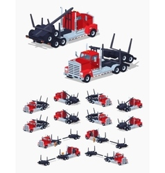 Folded log truck vector