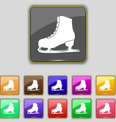 Ice skate icon sign set with eleven colored vector