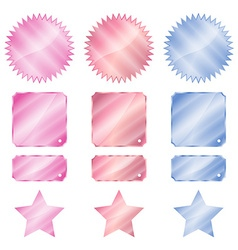 Set red blue and pink glossy stickers in the shape vector