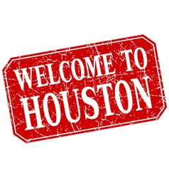 Welcome to houston red square grunge stamp vector