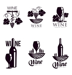 Set of elegant wine logo templates vector