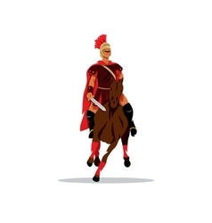Spartan warrior on horseback holding sword vector image