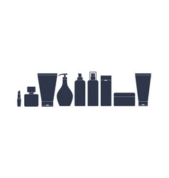 A set of containers for cosmetics black vector