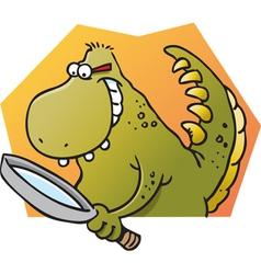 Cartoon dinosaur holding a magnifying glass vector