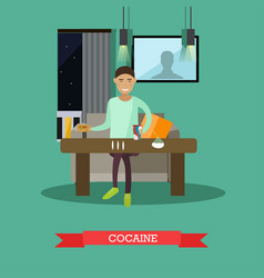 Cocaine concept in flat style vector