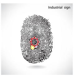 Creative gear idea concept with fingerprint symbol vector
