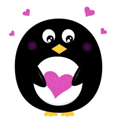 Cute Penguin holding pink heart isolated on white vector image