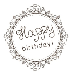Decorative badge with greeting text for birthday vector image